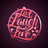 Live laugh love Hand lettering quote Stock Images