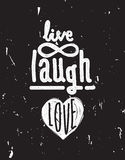 Live, laugh, love. Simple lettering quote with chaotic brush eff Stock Photography