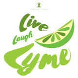 Live, Laugh, Lyme. Stop lyme disease. Flat vector poster design with green ribbon lime fruit and decorative calligraphic elements Stock Photo
