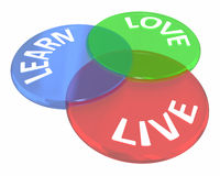 Live Learn Love Life Experience Venn Diagram Circles Stockbild