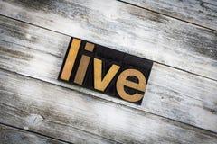 Live Letterpress Word en fondo de madera imagen de archivo libre de regalías