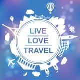 Live, lieben Sie, reisen Sie Konzeptvektorillustration Lizenzfreie Stockfotos