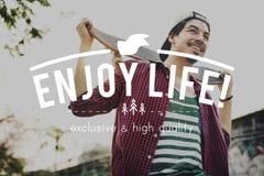 Live Life Lifestyle Enjoyment Happiness-Konzept stockbild