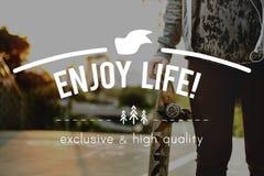 Live Life Lifestyle Enjoyment Happiness-Konzept stockfotos