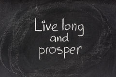 Live long and prosper salute on blackboard. Live long and prosper - abbreviated version of traditional Jewish religious blessing popularised by actor Leonard stock image