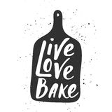 Live, love, bake in hand draw cutting board Stock Photography
