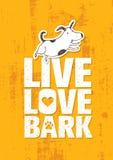 Live Love Bark Quote Conceito lunático engraçado do vetor da bandeira do cão em Rusty Grunge Wall Background Imagens de Stock Royalty Free