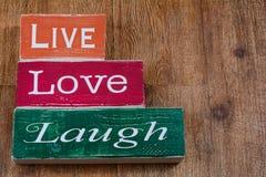 Live Love Laugh-Blöcke lizenzfreie stockbilder