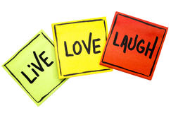 Live, love, laugh - reminder notes Royalty Free Stock Photo