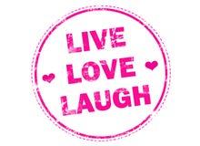 Live Love Laugh sur le tampon en caoutchouc grunge rose Photos libres de droits