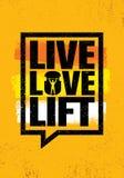 Live Love Lift Inspirerande tecken för illustration för citationstecken för genomkörare- och konditionidrottshallmotivation Royaltyfri Foto