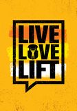 Live Love Lift Signe de inspiration d'illustration de citation de motivation de gymnase de séance d'entraînement et de forme phys Photo libre de droits