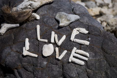 Live, Love. Rock Art - Live, Love, in the tropics Royalty Free Stock Image
