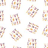 Live Love Surf hand drawn vector lettering illustration seamless background. Pattern with Surfing slogan: live, love and surf. vector illustration