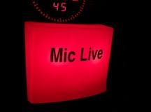 live mic arkivfoton