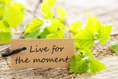 Live For The Moment Label. Natural Looking Label with the Quote Live For The Moment stock images