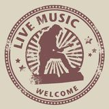 Live music. Grunge rubber stamp with text live music written inside Stock Photo