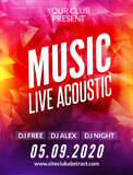 Live music acoustic poster design temple. Live show modern party dj invitation flyer Stock Photos