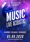 Live music acoustic poster design temple. Live show modern party dj invitation flyer Royalty Free Stock Images