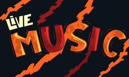 Live Music Artistic Cool Comic-het Van letters voorzien Beeldverhaalinschrijving F Stock Fotografie