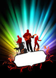 Live Music Band on Abstract Tropical Frame with Spectrum Stock Photo
