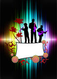 Live Music Band on Abstract Tropical Frame with Spectrum Stock Photography