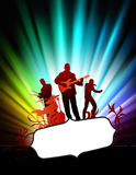 Live Music Band on Abstract Tropical Frame with Spectrum Stock Images