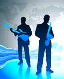 Live Music Band avec le fond de carte du monde Images stock
