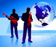 Live Music Band med jordklotet Royaltyfria Bilder