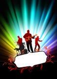 Live Music Band på abstrakt tropisk ram med spektret Arkivfoto