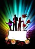 Live Music Band på abstrakt tropisk ram med spektret Arkivbilder
