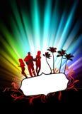 Live Music Band på abstrakt tropisk ram med spektret Royaltyfri Foto