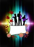 Live Music Band på abstrakt tropisk ram med spektret Arkivbild