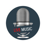 Live Music Banner. Microphone in a circle with live music banner Stock Photo