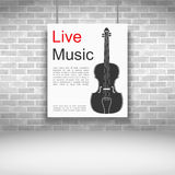 Live Music. Banner with violin on brick wall Royalty Free Stock Photography