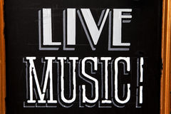 LIVE MUSIC. A board advertising Live Music Royalty Free Stock Image