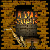 Live music brick wall saxophone and guitar Royalty Free Stock Photography