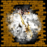 Live music brick wall saxophone in smoke Royalty Free Stock Photography