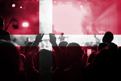 Live music concert with blending Denmark flag on fans Royalty Free Stock Photography