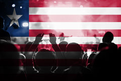 Live music concert with blending Liberia flag on fans Stock Photography