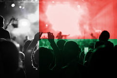 Live music concert with blending Madagascar flag on fans Royalty Free Stock Photos