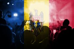 Live music concert with blending Republic of Moldava flag on fans Stock Photo