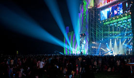 Live music concert with crowd. And spectacular lightning Royalty Free Stock Photography