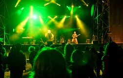 Live music concert at night. Color royalty free stock photo