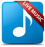 Live music cyan blue square button red ribbon in corner. Live music isolated on cyan blue square button with red ribbon in corner abstract illustration Royalty Free Stock Image