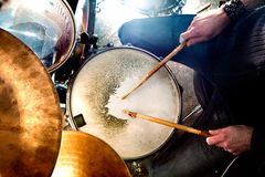 Live music and drummer.Music instrument. Man playing the drum.Live music background concept.Drummer and rock music Stock Image