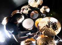 Live music and drummer.Music instrument. Man playing the drum.Live music background concept.Drummer and rock music Royalty Free Stock Photography