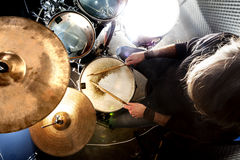 Live music and drummer.Music instrument. Man playing the drum.Live music background concept.Drummer and rock music Stock Photos