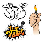 Live Music Elements. This illustration includes 3 elements with a Live Music theme vector illustration