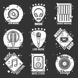 Live music festival, shop and recording studio emblems. Set. Vinyl record, old-fashioned headphones, control panel, vintage and modern microphones, cassette and Stock Image